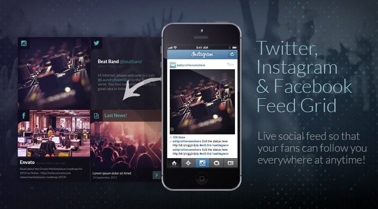 Twitter, Instagram and facebook feed grid