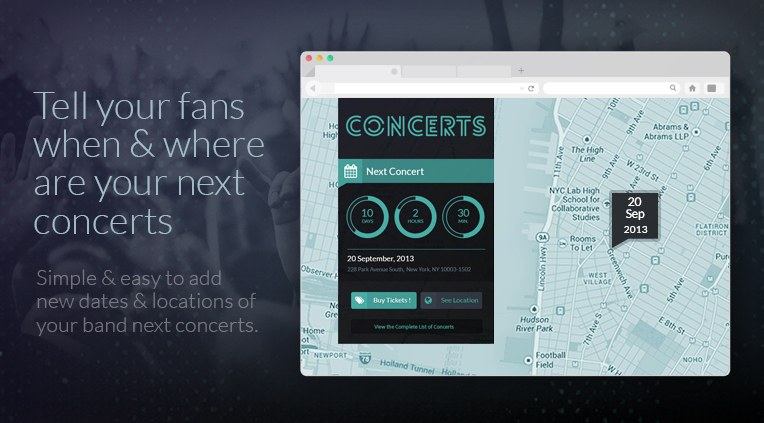 Tell your fans when and where are your next concerts