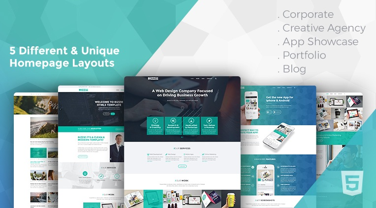 Bizzie - 5 different business homepages