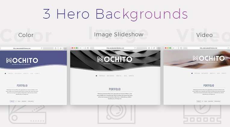 3 different heros - video, image slideshow and color