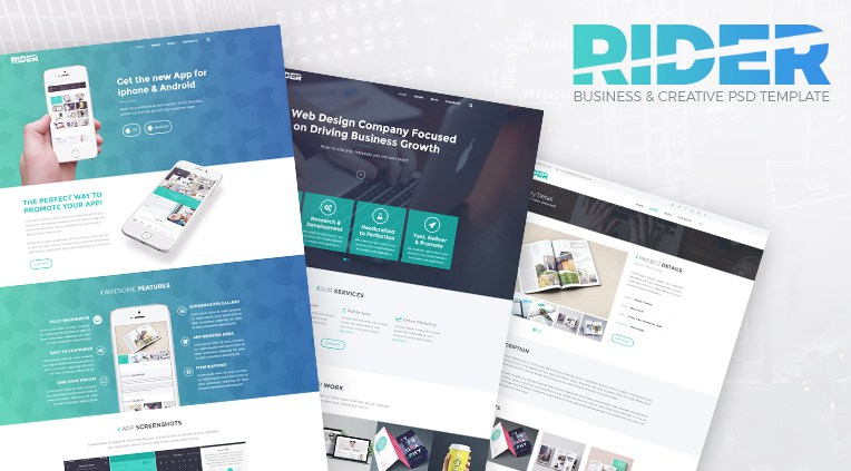 Rider business psd template accmission Gallery