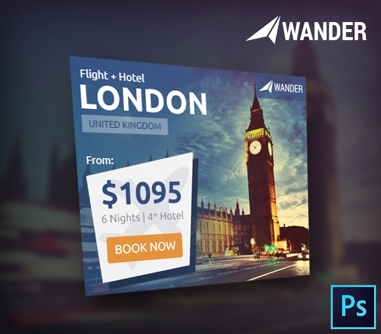 Wander Travel Agency PSD Banner Template
