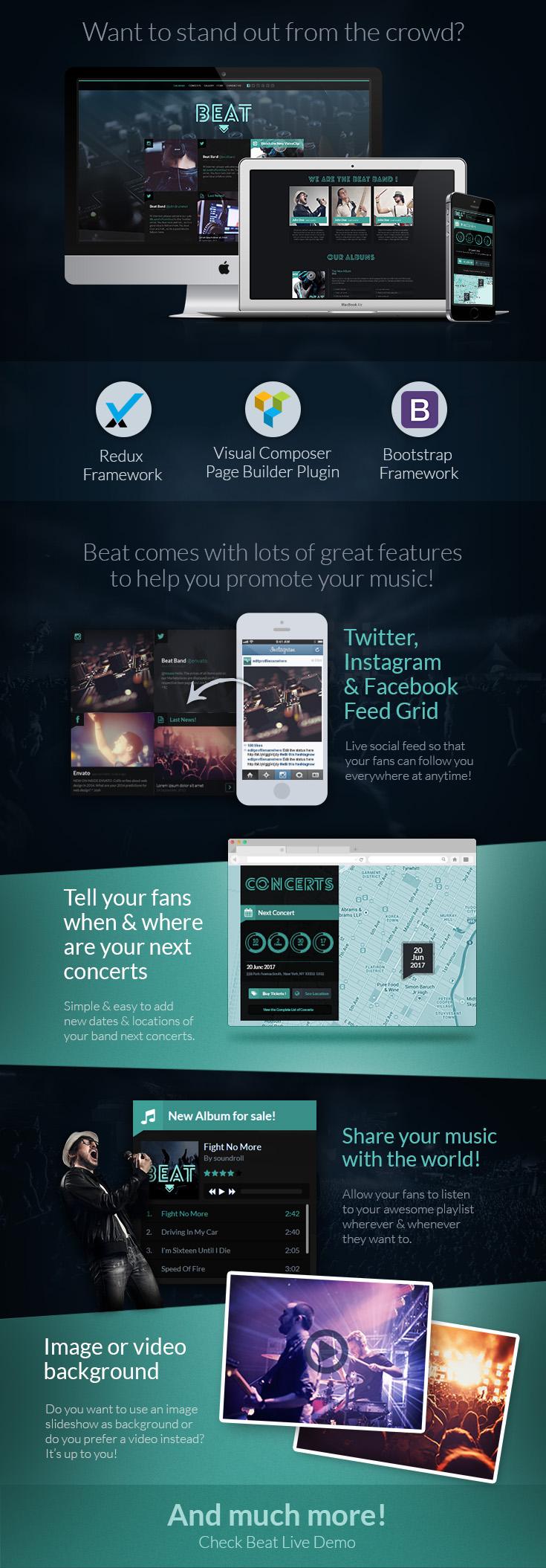 Beat - One-Page Music & Band AJAX WordPress Theme - 1
